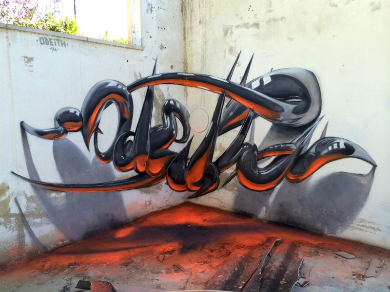 Lusitanie - Odeith Anamorphic 3D Graffiti Letters reflected tubes orange fluor light
